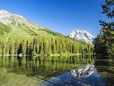 Snow-capped mountains reflected in the calm waters of String Lake, Grand Teton National Park, Wyoming, United States of America, North America