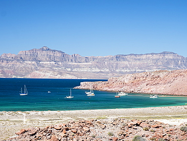 The protected natural harbor at Isla San Francisco, Baja California Sur, Mexico, North America