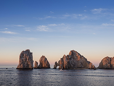 Sunrise light paints Lands End at Cabo San Lucas, Baja California Sur, Mexico, North America