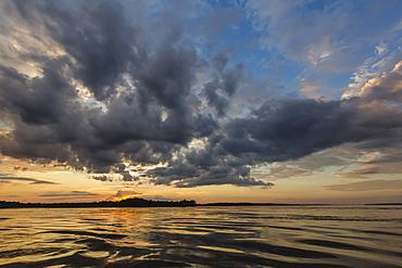 Sunset on Yanayacu Lake, Rio Pacaya, Pacaya-Samiria Reserve, Peru, South America