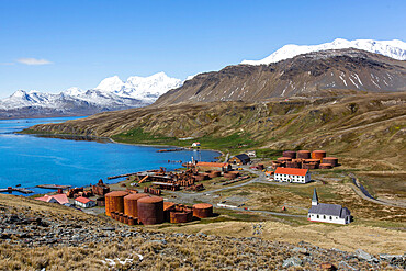 The abandoned Norwegian whaling station at Grytviken, now cleaned and open to tourism, South Georgia Island, Polar Regions