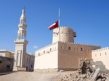 The Omani flag at half mast to signify the death of Sultan Qaboos at Ras Al Had Castle, Sultanate of Oman, Middle East