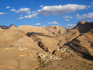 Small village in the bottom of Wadi Bani Khalid, Sultanate of Oman, Middle East