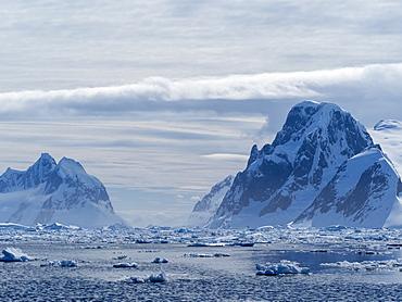 Ice choked waters surrounding the Yalour Islands, Antarctica, Polar Regions