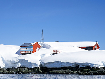 Snow covers the Argentine Research Base in the Melchior Islands, Dallmann Bay, Antarctica, Polar Regions