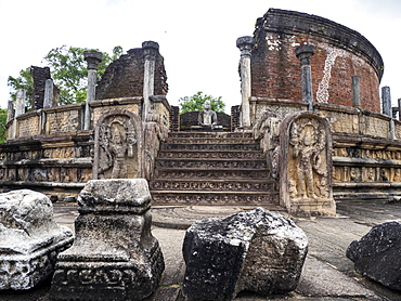 The Polonnaruwa Vatadage dating back to the Kingdom of Polonnaruwa, UNESCO World Heritage Site, Sri Lanka, Asia