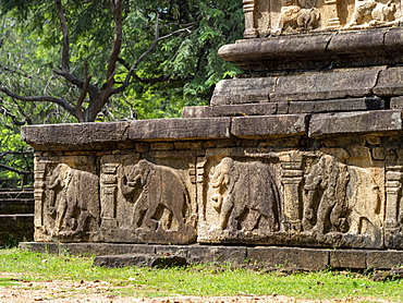 Detail from the ancient city of Polonnaruwa, UNESCO World Heritage Site, Sri Lanka, Asia