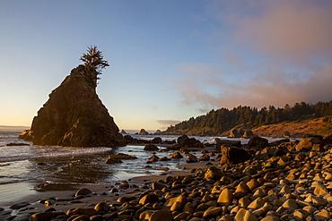 Sunset at low tide on Hidden Beach, Klamath, California, United States of America, North America