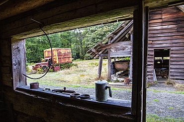 Old Chevrolet truck at the Kestner Homestead, Quinault Rain Forest, Olympic National Park, UNESCO World Heritage Site, Washington State, United States of America, North America