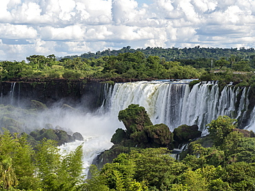 View of Iguacu Falls taken from the upper circuit boardwalk, UNESCO World Heritage Site, Misiones Province, Argentina, South America
