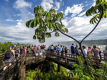 Visitors on the platform at Devil's Throat (Garganta del Diablo), Iguacu Falls, UNESCO World Heritage Site, Misiones Province, Argentina, South America