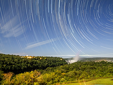 Star trails at Iguacu Falls, Misiones Province, Argentina, South America