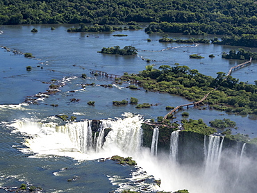Aerial view by helicopter of Iguacu Falls (Cataratas do Iguacu), UNESCO World Heritage Site, Parana, Brazil, South America
