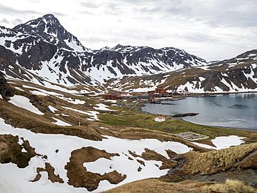 View of the abandoned Norwegian whaling station at Grytviken, in East Cumberland Bay, South Georgia, Polar Regions