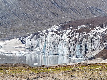 Glacier and meltwater lake in St. Andrews Bay, South Georgia, Polar Regions
