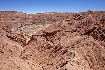 Sun scorched hills at Quebrada de Chulacao, Catarpe Valley in the Atacama Desert, Chile, South America