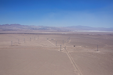 Aerial view of a wind farm in the Atacama Desert, Antofagasta Region, Chile, South America