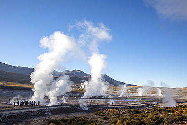 Tourists at the Geysers del Tatio (El Tatio), the third largest geyser field in the world, Andean Central Volcanic Zone, Antofagasta Region, Chile, South America