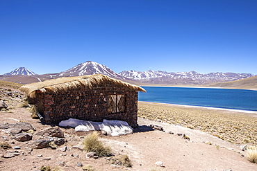 Refuge hut at Laguna Miscanti, a brackish lake at an altitude of 4140 meters, Central Volcanic Zone, Chile, South America