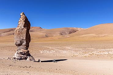 Stone formation at Salar de Tara y Aguas Calientes I, Los Flamencos National Reserve, Antofagasta Region, Chile, South America