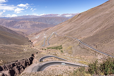 Route 52, a steep road leading to Piedra del Molino Pass, Los Cardones National Park, Salta Province, Argentina, South America