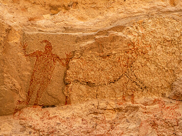 Rock art pictographs of the Cochimí people, Palmarito Cave, Sierra San Francisco, Baja California Sur, Mexico.