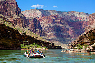 Floating in a raft on the Colorado River, Grand Canyon National Park, Arizona, USA, North America.