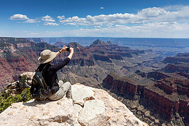View of the North Rim of Grand Canyon National Park from Bright Angel Point, Arizona, USA, North America.