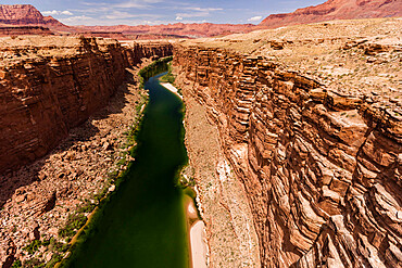 View of the Colorado River from the Glen Canyon Dam Bridge on Highway 89, Arizona, USA, North America.