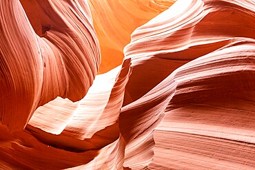Water eroded Navajo Sandstone forms a slot canyon in Upper Antelope Canyon, Navajo Land, Arizona, USA.