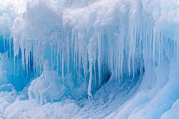 Icicles forming from melting and refreezing on iceberg at Devil Island, Weddell Sea, Antarctica, Polar Regions