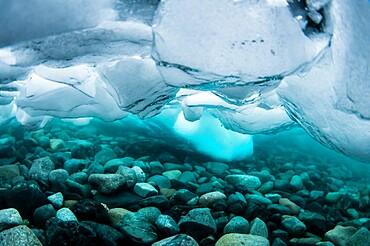 Underwater view of dense brash ice at Cuverville Island, Ererra Channel, Antarctica, Polar Regions