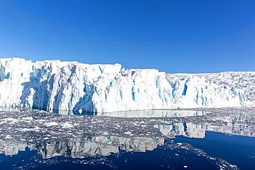Tidewater glacier and brash ice in Cierva Cove, Hughes Bay, Antarctica, Polar Regions