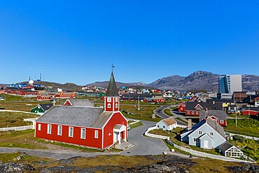 The Lutheran Cathedral in Nuuk (Godthab), the Capital and the largest city in Greenland, Polar Regions