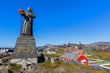 The statue of Hans Egede in Nuuk (Godthab), the Capital and largest city in Greenland, Polar Regions