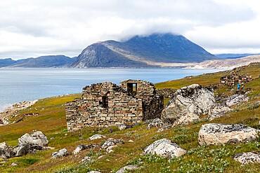 Church at Greenland's largest, best-preserved Norse farmstead ruins at Hvalsey, Qaqortukulooq, Greenland, Polar Regions