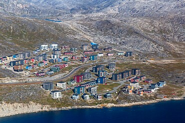 Aerial view of Nuuk (Godthab), the Capital and the largest city in Greenland, Polar Regions