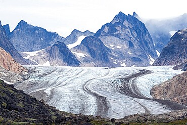 The tidewater Igdlorssuit Glacier reaching down to the sea, Prins Christian Sund, Greenland, Polar Regions
