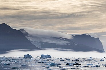 Sea ice and icebergs calved from the Christian IV Glacier, Nansen Fjord, eastern Greenland, Polar Regions