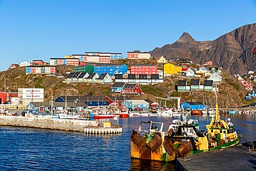 The harbor in Sisimiut, in Danish Holsteinsborg, on Davis Strait, the second-largest city in Greenland, Polar Regions