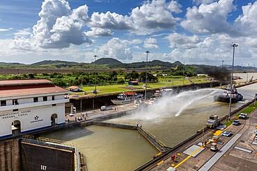 Ships in transit in the Miraflores Locks towards Lake Gatun, near Gamboa, Panama Canal, Panama, Central America