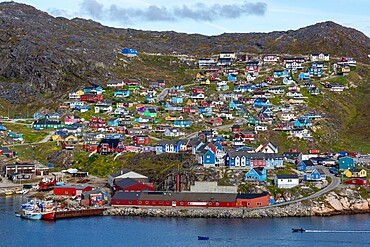The harbor in the small Greenlandic village of Qaqortoq, formerly Julianehab, in southern Greenland, Polar Regions