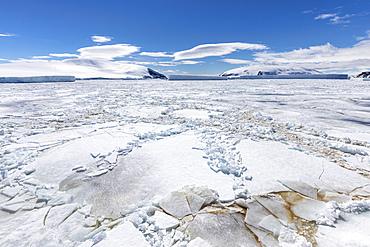Winter sea ice breaking up in the Weddell Sea, Antarctica.
