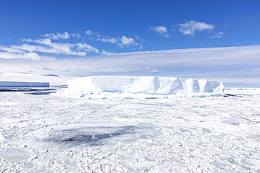 Iceberg amongst winter sea ice breaking up in the Weddell Sea, Antarctica.
