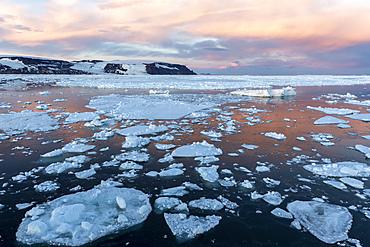 Sunset on first year sea ice near Cogburn Island, Weddell Sea, Antarctica.