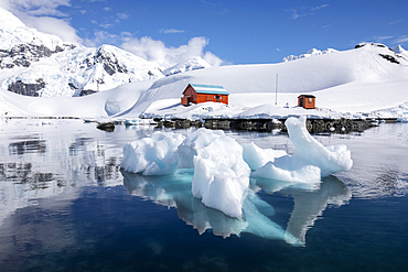 The boat house at the Argentine Research Station Base Brown, Paradise Bay, Antarctica.