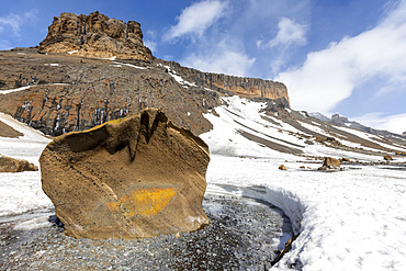 Ventifacts blown by the wind into the soft tuff material at Brown Bluff, Antarctic Sound, Antarctica.