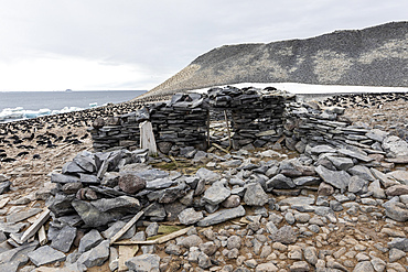 The remains of the 1903 Swedish Antarctic Expedition hut led by Otto Nordenskiöld, Paulet Island, Antarctica.
