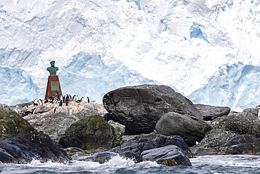 Statue to Piloto Pardo, the Chilean Captain of the Yelcho, which rescued Shackleton???s men, Point Wild, Antarctica.