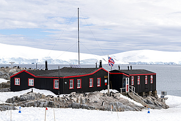 Exterior view of Port Lockroy, established as Station A in WWII Operation Tabarin, Goudier Island, Antarctica.